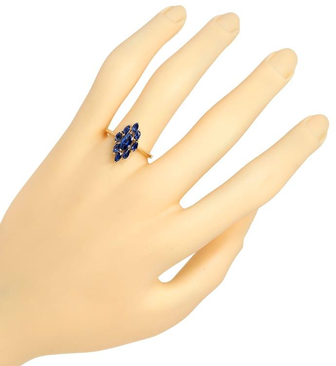 Foto 4, Goldring mit blauen Spitzen Saphiren in Navetteform 14K, Q0240