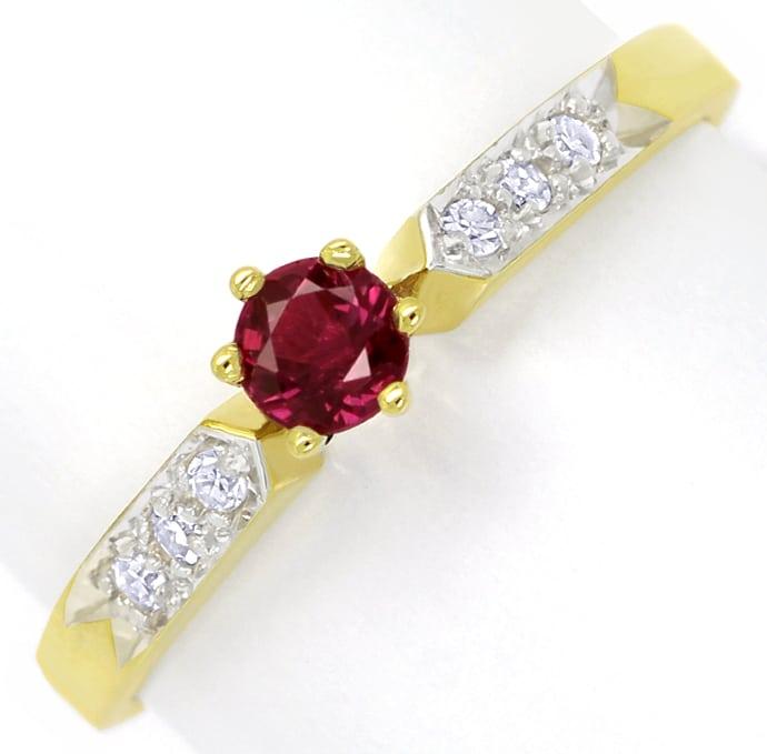 Foto 2, Gold Ring mit 0,33ct Rubin und in der Schiene Diamanten, Q0241