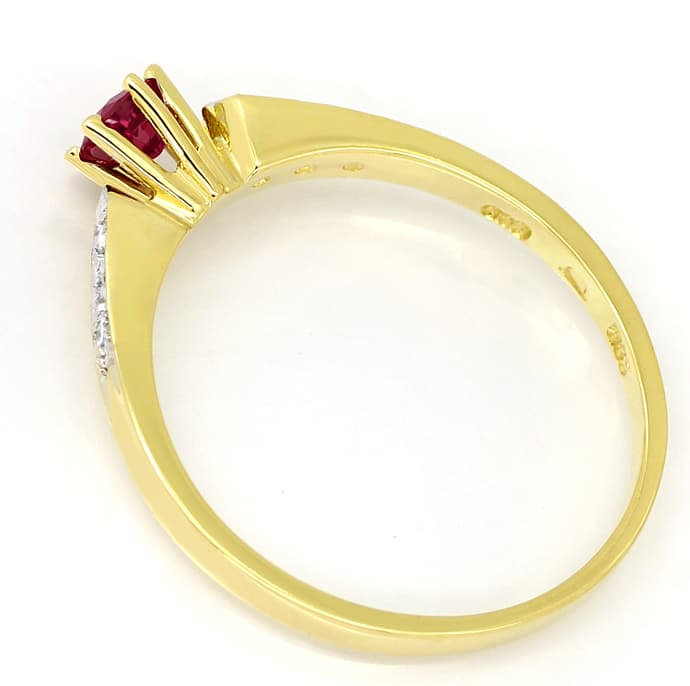 Foto 3, Gold Ring mit 0,33ct Rubin und in der Schiene Diamanten, Q0241
