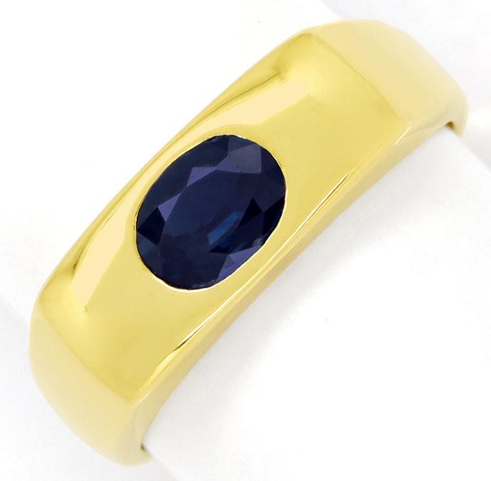 Foto 2, Bandring eckig 1ct ovaler blauer Saphir in 14K Gelbgold, Q0244