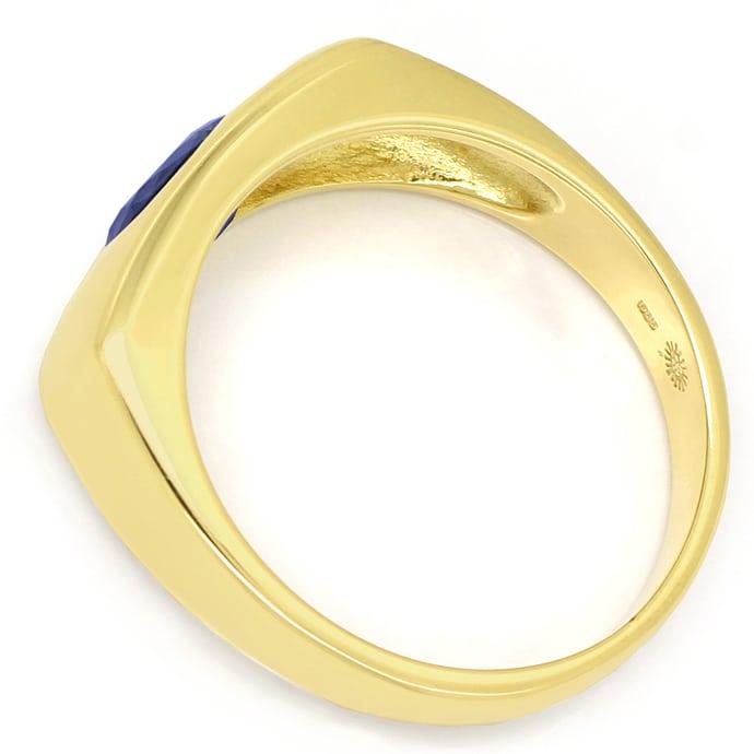 Foto 3, Bandring eckig 1ct ovaler blauer Saphir in 14K Gelbgold, Q0244