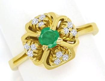 Foto 1, Diamantring mit Smaragd und Brillanten aus 14K Gelbgold, Q0245