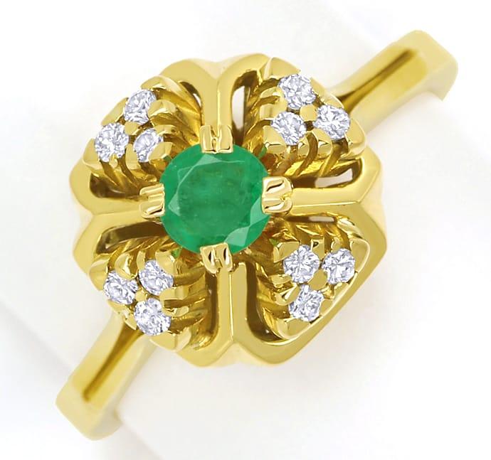 Foto 2, Diamantring mit Smaragd und Brillanten aus 14K Gelbgold, Q0245