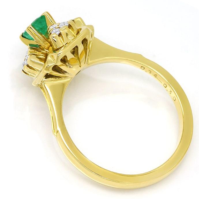 Foto 3, Diamantring mit Smaragd und Brillanten aus 14K Gelbgold, Q0245