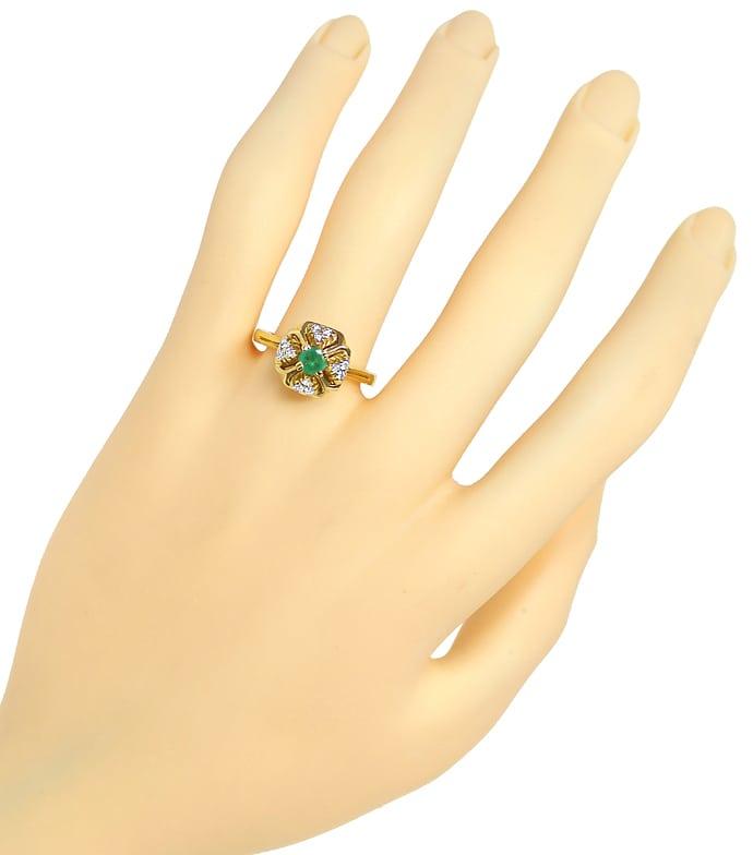 Foto 4, Diamantring mit Smaragd und Brillanten aus 14K Gelbgold, Q0245