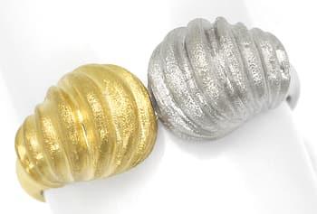 Foto 1, Designer Goldring zweifarbig Gelbgold und Weissgold 14K, Q0247