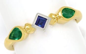 Foto 1, Damenring mit Safir Carree und zwei Smaragd Tropfen 18k, Q0249