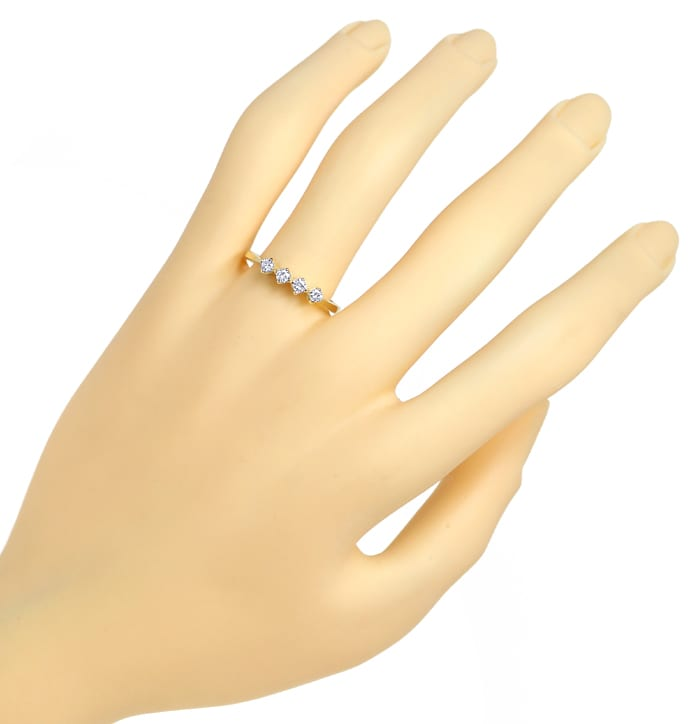 Foto 4, Diamantring Halbmemoryring mit 0,20ct Brillanten in 14K, Q0250