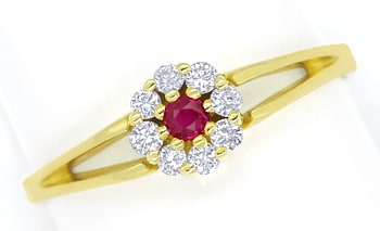 Foto 1, Diamantring Rubin und 0,16ct Brillanten in 14K Gelbgold, Q0251