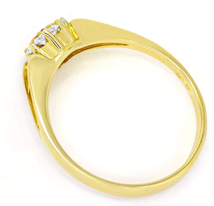 Foto 3, Diamantring Rubin und 0,16ct Brillanten in 14K Gelbgold, Q0251