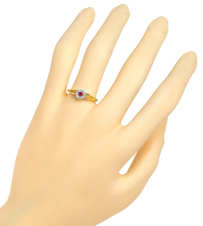 Foto 4, Diamantring Rubin und 0,16ct Brillanten in 14K Gelbgold, Q0251