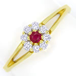 Diamantring Rubin und 0,16ct Brillanten in 14K Gelbgold