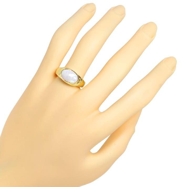 Foto 5, Damenring mit 2,2ct schillerndem Opal in 585er Gelbgold, Q0252
