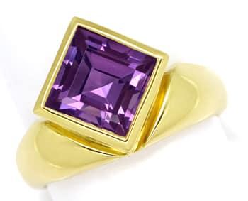 Foto 1, Ring asymmetrisch 3,2ct Amethyst Carree in 14K Gelbgold, Q0253