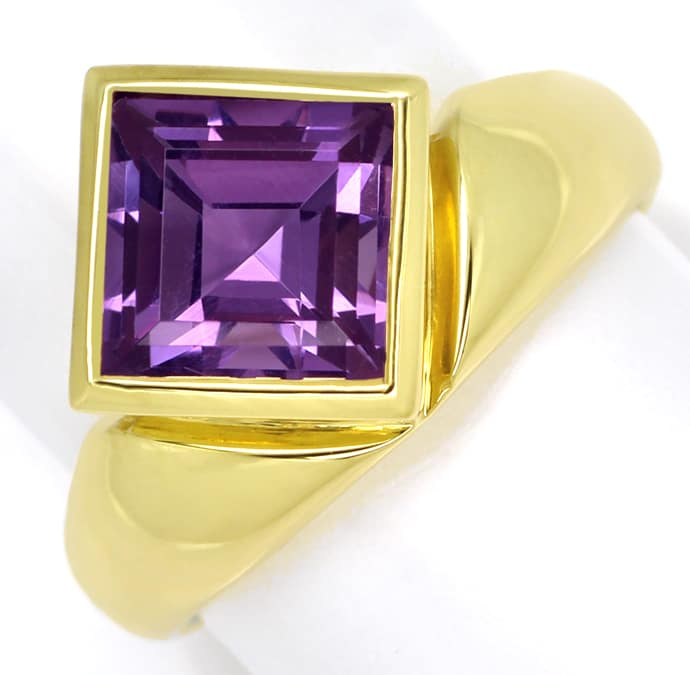 Foto 2, Ring asymmetrisch 3,2ct Amethyst Carree in 14K Gelbgold, Q0253