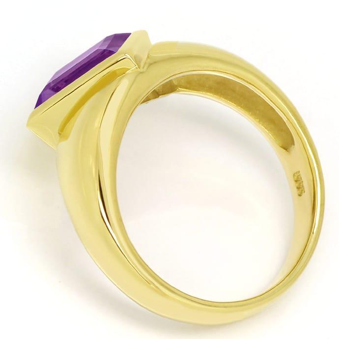 Foto 3, Ring asymmetrisch 3,2ct Amethyst Carree in 14K Gelbgold, Q0253