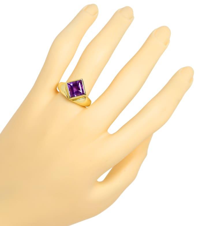 Foto 4, Ring asymmetrisch 3,2ct Amethyst Carree in 14K Gelbgold, Q0253