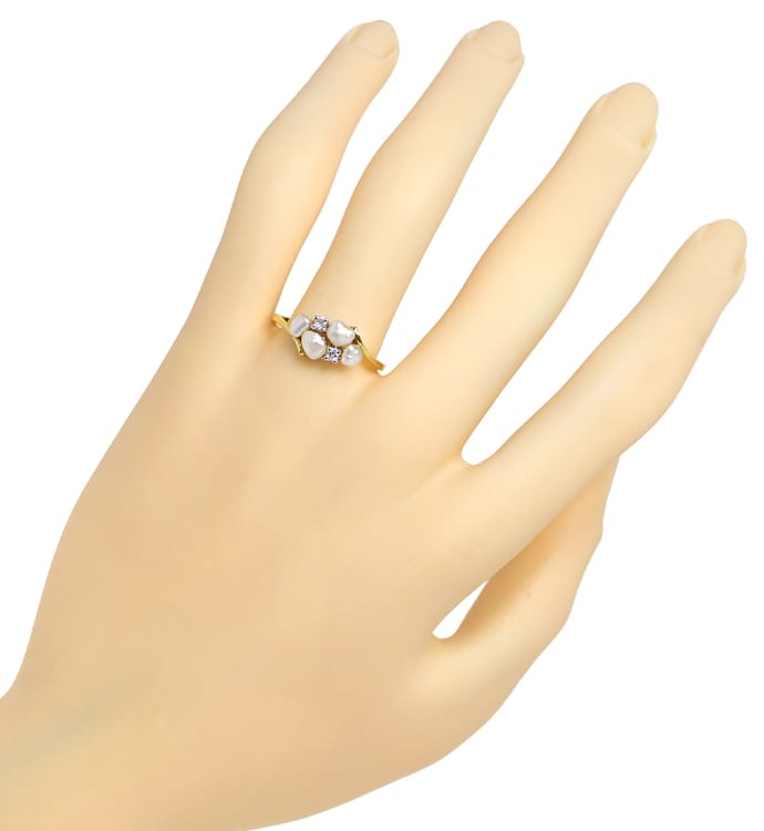 Foto 4 - Diamantring 4 Perlen und 0,06ct River Brillanten in 14K, Q0254