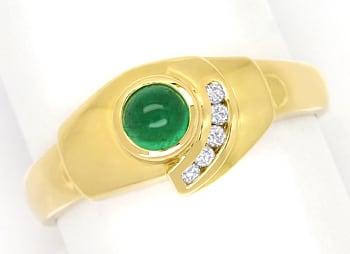 Foto 1, Gelbgoldring mit Brillanten und 0,40ct Smaragd Cabochon, Q0255