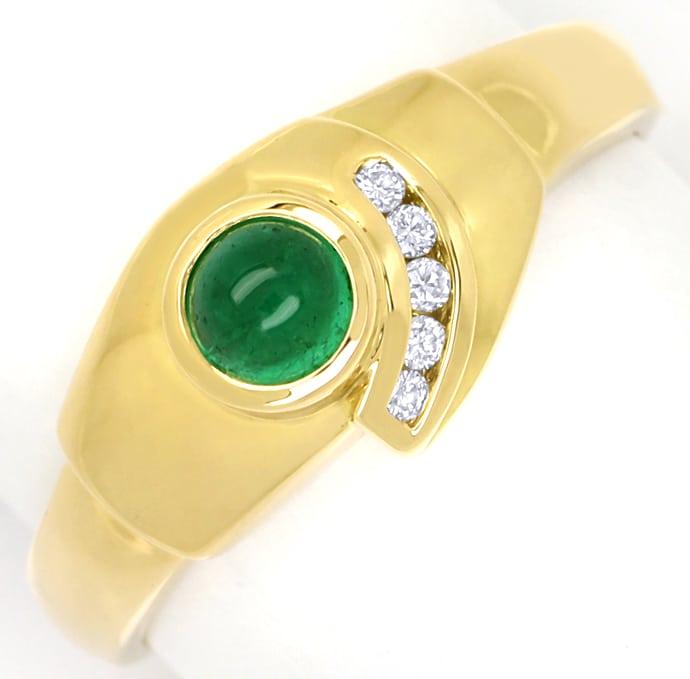 Foto 2, Gelbgoldring mit Brillanten und 0,40ct Smaragd Cabochon, Q0255