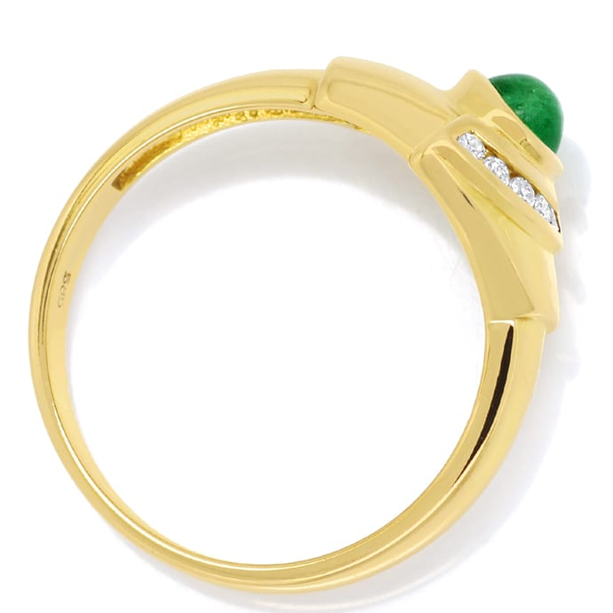 Foto 3, Gelbgoldring mit Brillanten und 0,40ct Smaragd Cabochon, Q0255
