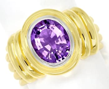 Foto 1, Goldring 2,8ct ovaler TOP Amethyst in massiv 585er Gold, Q0258