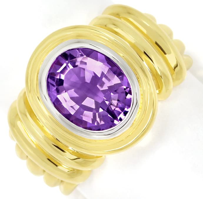 Foto 2, Goldring 2,8ct ovaler TOP Amethyst in massiv 585er Gold, Q0258