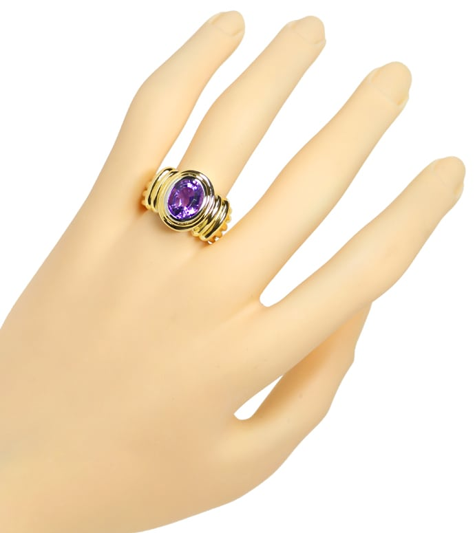 Foto 4, Goldring 2,8ct ovaler TOP Amethyst in massiv 585er Gold, Q0258