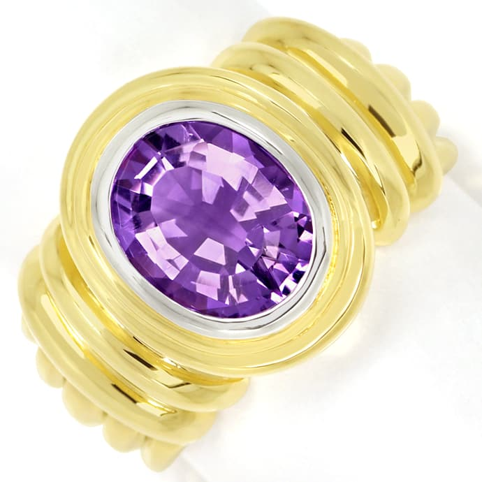 Goldring 2,8ct ovaler TOP Amethyst in massiv 585er Gold, Edelstein Farbstein Ring