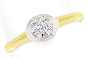 Foto 1, Diamantring mit 0,10 Carat Brillant Solitär in 14K Gold, Q0259