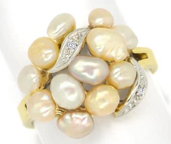 Foto 1, Diamantring mit 12 Perlen in zarten Pastelltönen in 14K, Q0260