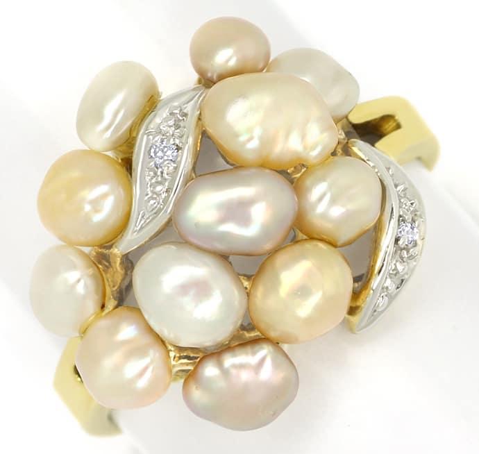 Foto 2, Diamantring mit 12 Perlen in zarten Pastelltönen in 14K, Q0260