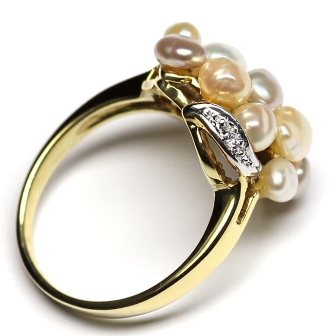 Foto 3, Diamantring mit 12 Perlen in zarten Pastelltönen in 14K, Q0260