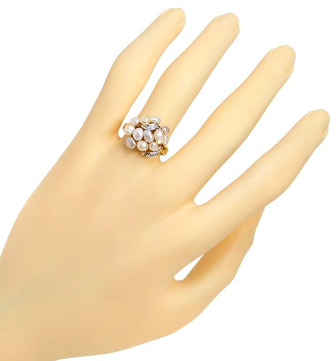 Foto 4, Diamantring mit 12 Perlen in zarten Pastelltönen in 14K, Q0260