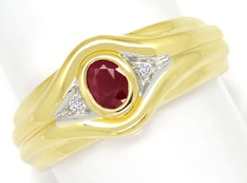 Foto 1, Designer Diamanten Bandring 0,40ct Super Rubin 14K Gold, Q0261