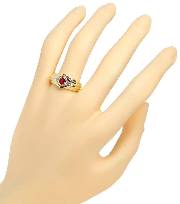 Foto 4, Designer Diamanten Bandring 0,40ct Super Rubin 14K Gold, Q0261