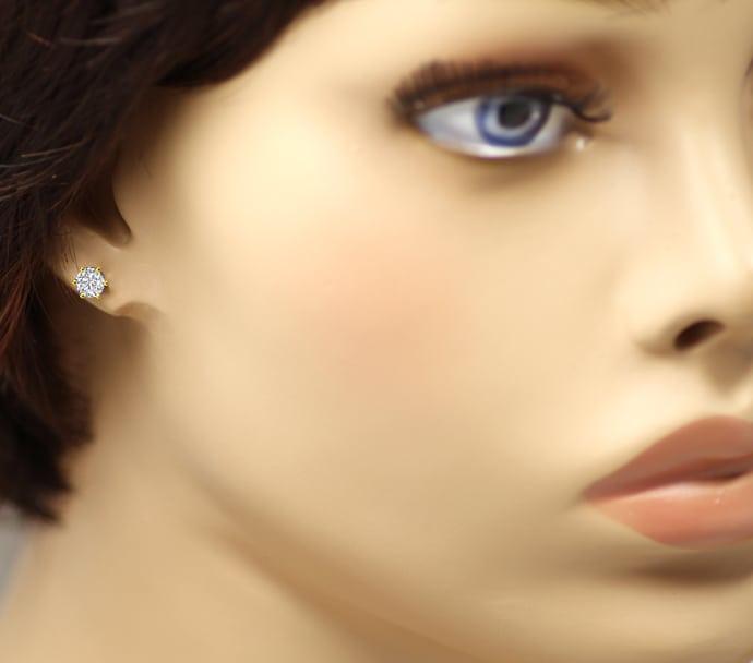 Foto 2, Diamantohrstecker mit 0,76ct Brillanten in 18K Gelbgold, Q0262