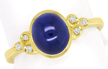 Foto 1, Diamanten Goldring 2,3ct blauer Spitzen Saphir Cabochon, Q0264