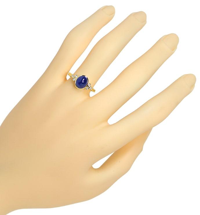 Foto 4, Diamanten Goldring 2,3ct blauer Spitzen Saphir Cabochon, Q0264
