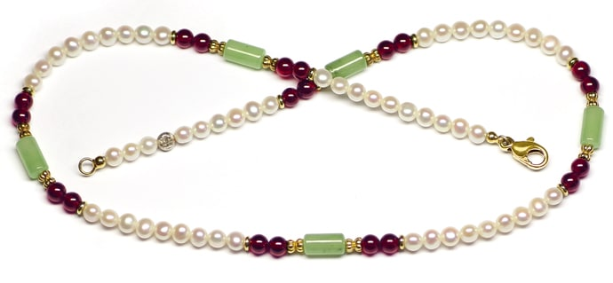 Foto 1, Halskette Perlen Rhodolithe Jadeite mit 14K Goldschloss, Q0304