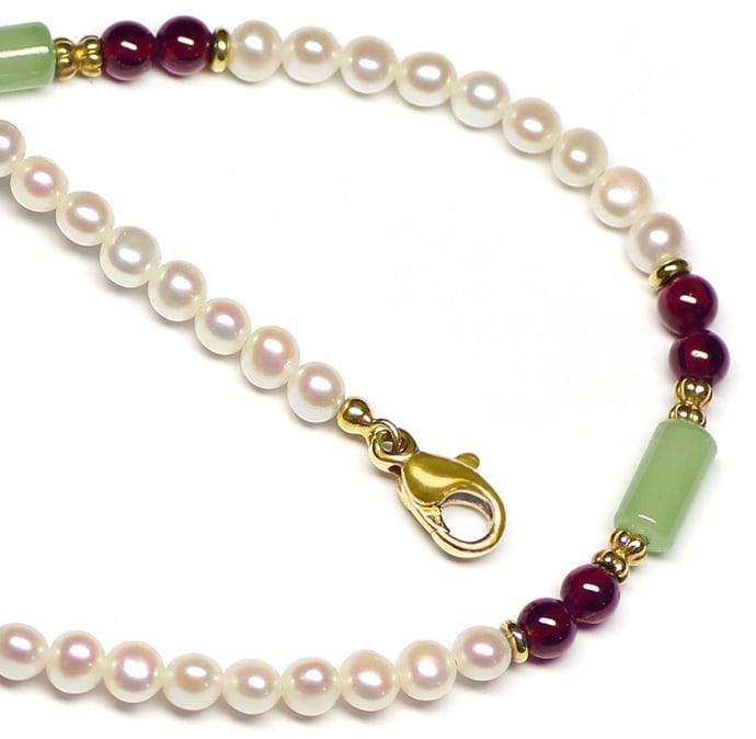 Foto 2, Halskette Perlen Rhodolithe Jadeite mit 14K Goldschloss, Q0304