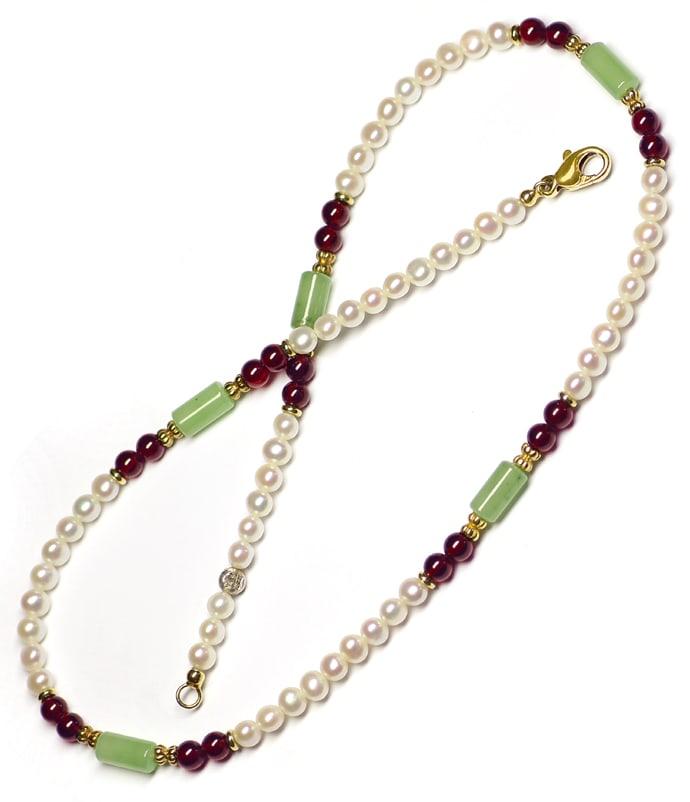 Foto 3, Halskette Perlen Rhodolithe Jadeite mit 14K Goldschloss, Q0304