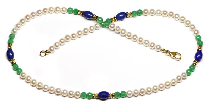 Foto 1, Kette aus Perlen und Lapislazuli und Achat und 14K Gold, Q0306
