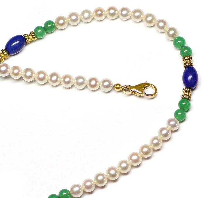 Foto 2, Kette aus Perlen und Lapislazuli und Achat und 14K Gold, Q0306