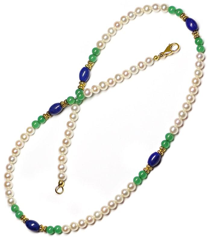 Foto 3, Kette aus Perlen und Lapislazuli und Achat und 14K Gold, Q0306
