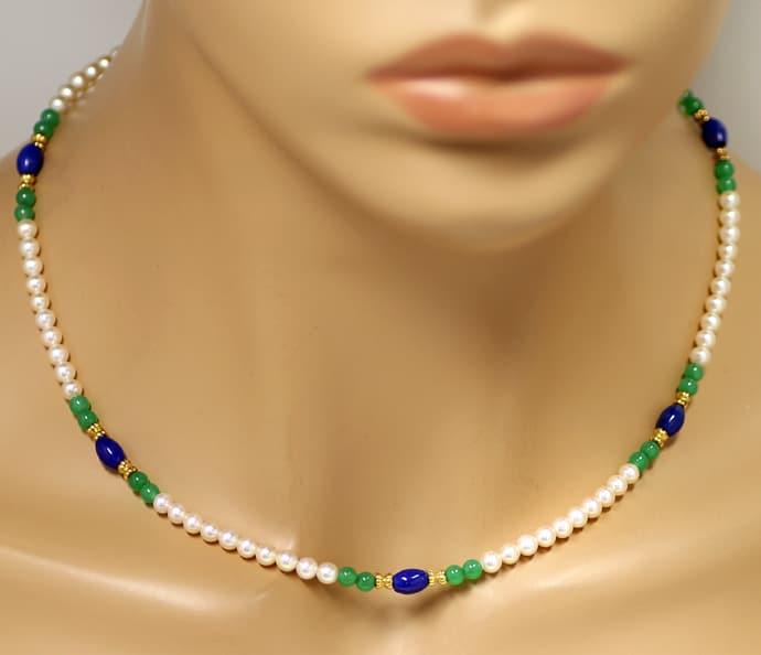Foto 4, Kette aus Perlen und Lapislazuli und Achat und 14K Gold, Q0306