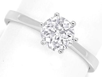 Foto 1, Einkaräter Solitär Diamantring 1,05ct in 750er Weißgold, Q0380