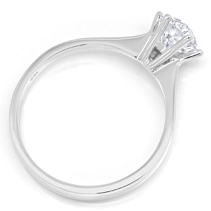 Foto 3, Einkaräter Solitär Diamantring 1,05ct in 750er Weißgold, Q0380