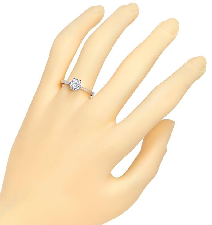 Foto 4, Einkaräter Solitär Diamantring 1,05ct in 750er Weißgold, Q0380