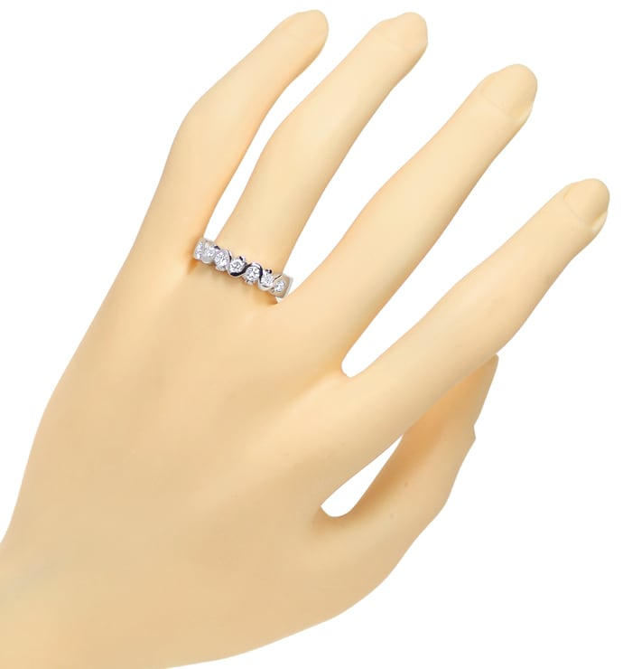 Foto 4, Diamantenring Halbmemory mit 0,63ct Brillanten Weißgold, Q0381